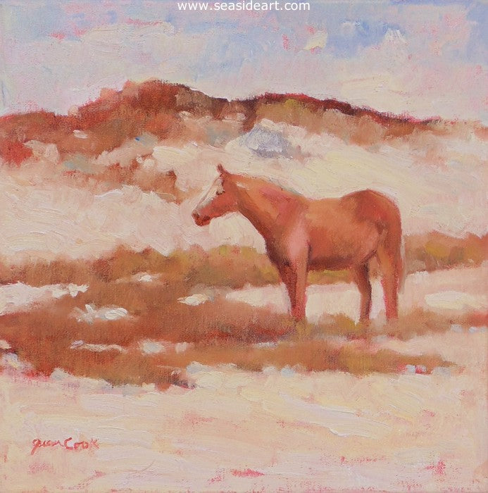 Dun Horse in the Dunes by Jean Cook - Seaside Art Gallery