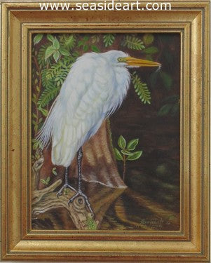 Egret in Cypress Swamp by Beverly Abbott - Seaside Art Gallery