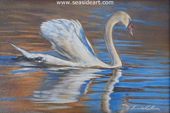 Evening Brilliance-Mute Swan by Bonnie Latham - Seaside Art Gallery