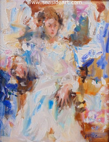 Figure Study - Lady in White by Gregory Kavalec - Seaside Art Gallery