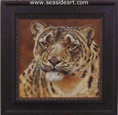 Focused-Snow Leopard by Rebecca Latham - Seaside Art Gallery
