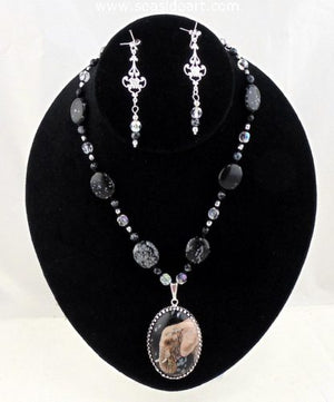 A Snowflake Obsidian Pendant With Elephant by Jewelry - Seaside Art Gallery