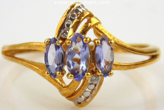 Tanzanite & Diamond Ring 18kt Yellow Gold by Jewelry - Seaside Art Gallery
