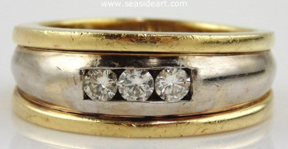 Diamond Gents Ring 14kt Two-tone Gold by Jewelry - Seaside Art Gallery