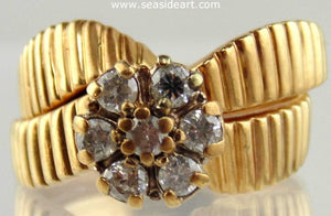 Diamond Engagement Ring Set 14kt Yellow Gold by Jewelry - Seaside Art Gallery