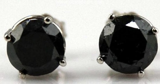 Black Diamond Stud Earrings 14kt White Gold by Jewelry - Seaside Art Gallery
