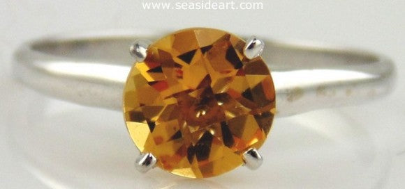 Citrine Solitaire Style Ring 14kt White Gold by Jewelry - Seaside Art Gallery