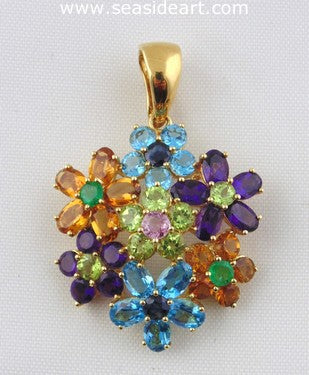 Ladie's 18K Yellow Gold & Multi Gemstone Pendant