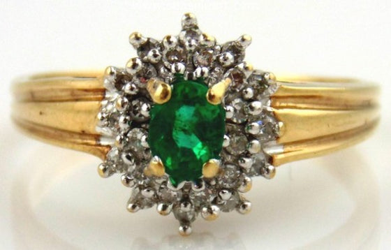 Emerald & Diamond Ring 10kt Two Tone Gold by Jewelry - Seaside Art Gallery
