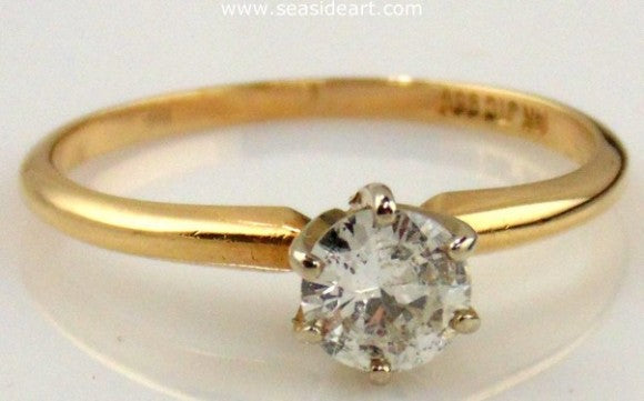 Diamond Engagement Ring 14kt Two Tone Gold- Size (7 1/4) by Jewelry - Seaside Art Gallery