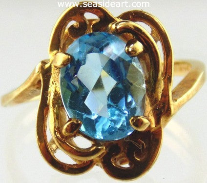 Blue Topaz Ring 14kt Yellow Gold by Jewelry - Seaside Art Gallery