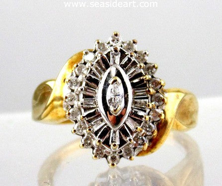10kt Yellow Gold Diamond Ring- Size 9.25 by Jewelry - Seaside Art Gallery