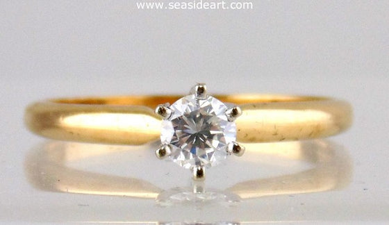 Diamond Engagement Ring 14kt Two Tone Gold - Size (7) by Jewelry - Seaside Art Gallery