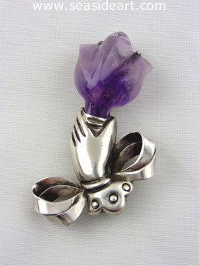 William Spratling Hand Amethyst Tulip Flower Sterling Silver Brooch