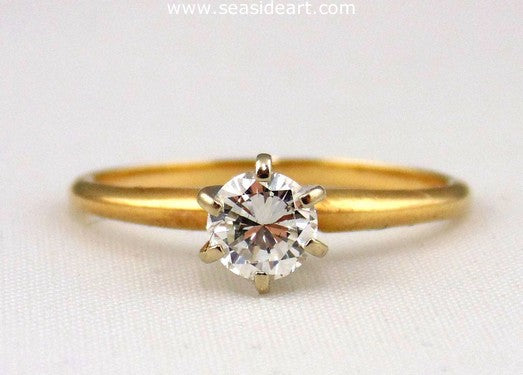 Diamond Engagement Ring 14K Two-tone Gold