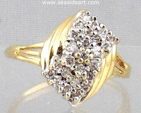 Diamond Cluster Style  Ring 14 kt Yellow Gold
