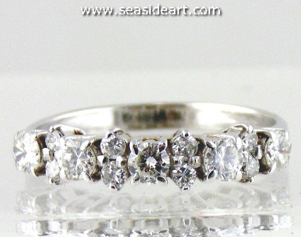 Lady's 18K White Gold Band with Diamonds-Size 7