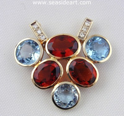 14K Two-tone Gold Pendant w/ Aquamarine, Citrine & Diamond