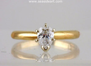 Diamond Engagement Ring 14kt Two Tone Gold - Size (4 1/4) by Jewelry - Seaside Art Gallery