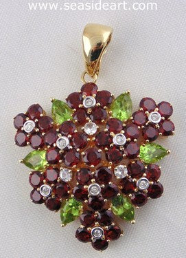 Ladie's 14kt Yellow Gold Pendant with Diamond, White Sapphire, Garnet and Peridot