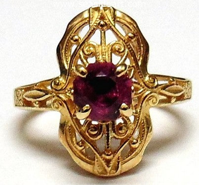 14kt Yellow Gold Filigree Ring Pink Tourmaline by Jewelry - Seaside Art Gallery