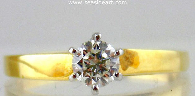 Diamond Engagement Ring 18kt Yellow Gold & Platinum - Size (7 1/4)