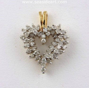 Vintage Lady's Heart-shaped Diamond Pendant 14K Yellow Gold