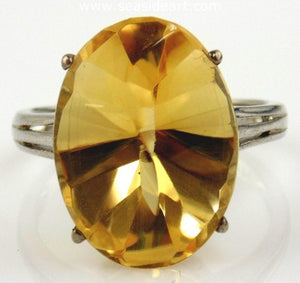 Citrine Ring 14kt White Gold by Jewelry - Seaside Art Gallery