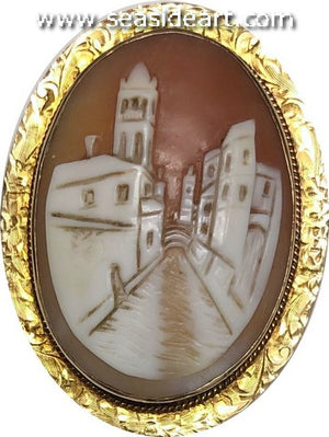 Antique Lady's Shell Cameo Brooch/Pendant-Village Street Scene