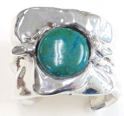 Sterling Silver & Azurite Free-form Cuff Bracelet