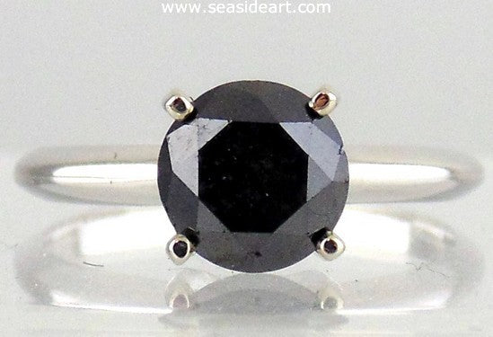 14KT White Gold 'Stuller' Ring with Black Diamond by Jewelry - Seaside Art Gallery