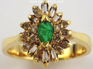 Emerald & Diamond Cocktail Ring 14kt Yellow Gold by Jewelry - Seaside Art Gallery