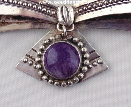 William Spratling Sterling Silver & Amethyst Bow Pin