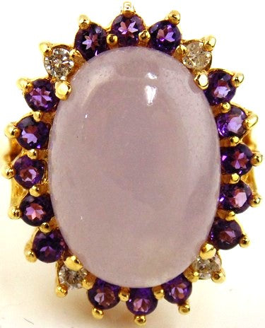 Jadeite, Amethyst & Diamond Ring 14kt Yellow Gold by Jewelry - Seaside Art Gallery
