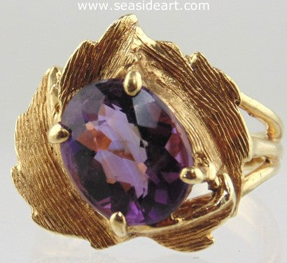Amethyst Ring Leaf-Like 14kt Yellow Gold by Jewelry - Seaside Art Gallery