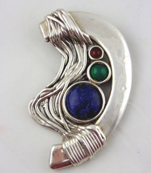 Bat Ami Sterling Silver Brooch with Round Gemstones-Made in Israel