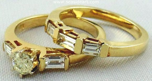 Diamond Engagement Set 14kt Two Tone & Yellow Gold by Jewelry - Seaside Art Gallery