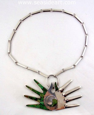 William Spratling Double Hands (Yin Yang) Silver & Malachite Necklace