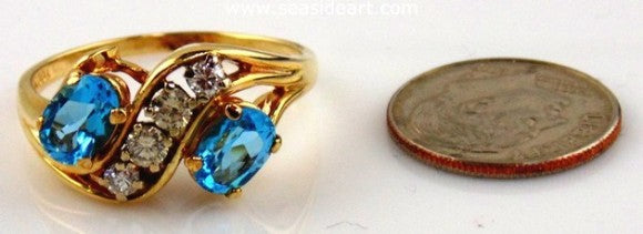 Blue Topaz & Diamonds Ring 14kt Two tone Gold by Jewelry - Seaside Art Gallery