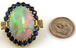 Opal, Sapphire & Diamond Ladies Pendant 18kt Yellow Gold by Jewelry - Seaside Art Gallery