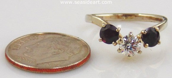 Garnet And Diamond Ring 14kt White Gold by Jewelry - Seaside Art Gallery