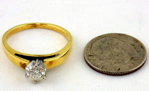 Diamond Engagement Ring 18kt Yellow Gold & Platinum - Size (7 1/4) by Jewelry - Seaside Art Gallery