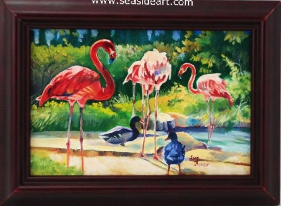 Gathering Pink Flamingos by Sun Bauer - Seaside Art Gallery