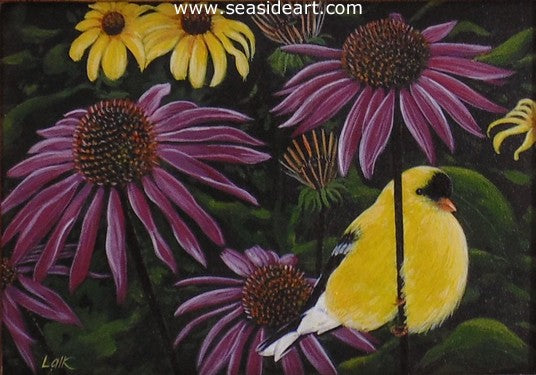 Goldfinch On Purple Coneflowers by N.W. Lalk - Seaside Art Gallery