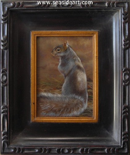 Grassy Spot-Gray Squirrel I by Rebecca Latham - Seaside Art Gallery