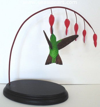 Ruby-throat Hummingbird With Bleeding Heart by Jim Carpenter - Seaside Art Gallery