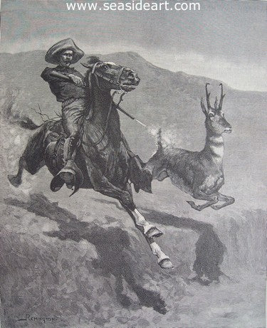 Hunting the Pronghorn Antelope in California by Frederic Sackrider Remington - Seaside Art Gallery