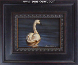 Ivory and Blue-Trumpeter Swan by Bonnie Latham - Seaside Art Gallery