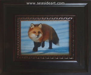 Snow Shadows II-Red Fox by Karen Latham - Seaside Art Gallery