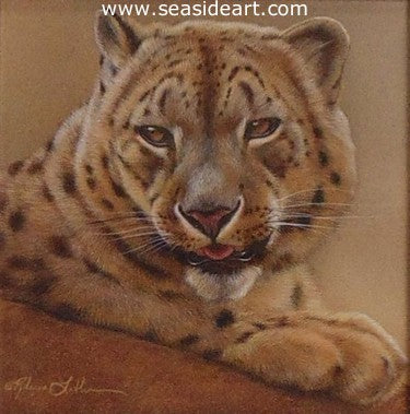 Leopard's Pause – Snow Leopard by Rebecca Latham - Seaside Art Gallery